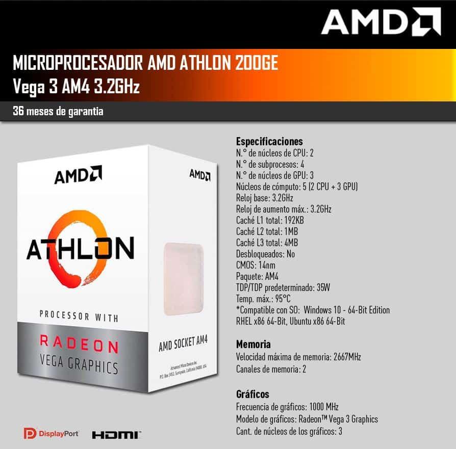 Microprocesador AMD Athlon 200GE Vega 3 4MB 3.20GHz Socket AM4