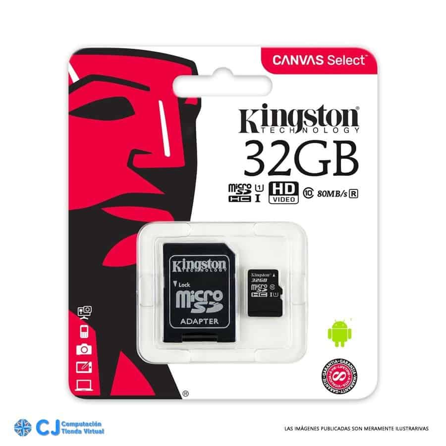 MicroSD 32gb clase 10 Kingston c/adaptador