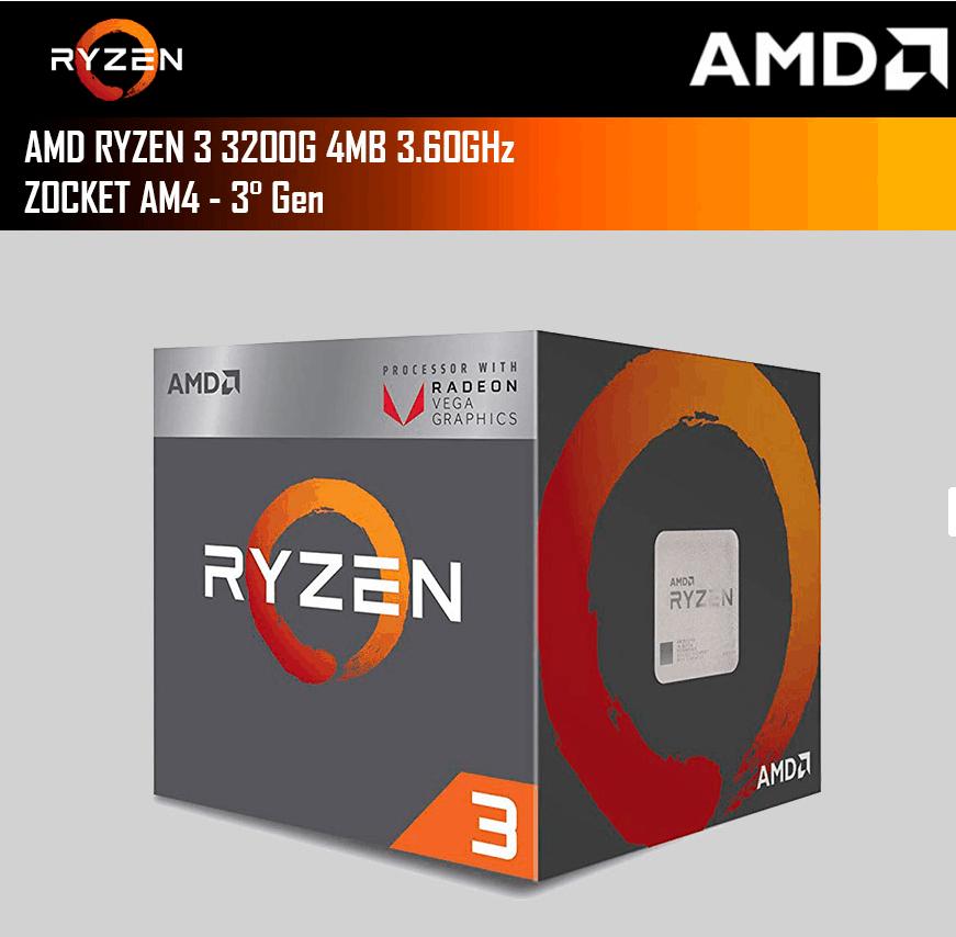 Microprocesador AMD Ryzen 3 3200G 4MB 3.60GHz Socket AM4 - 3° Gen